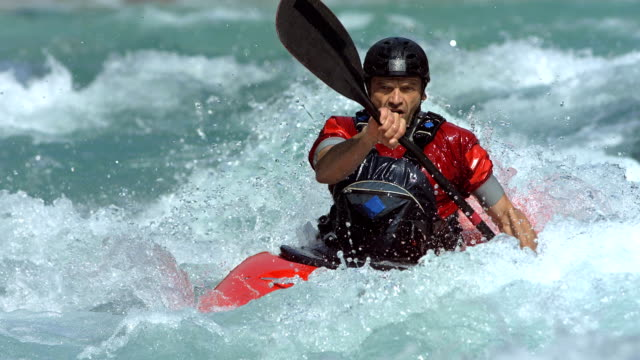 hd super slow-motion: extreme whitewater kayak - kayak video stock e b–roll