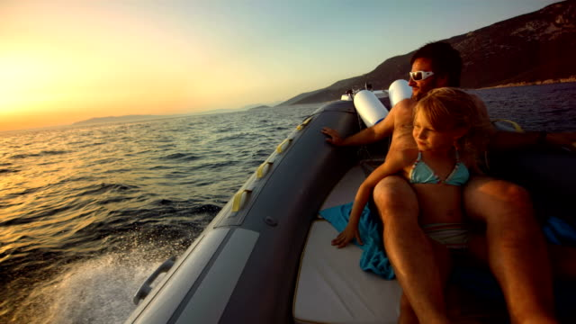 HD Super Slow-Mo: Family Riding In The Motor Boat