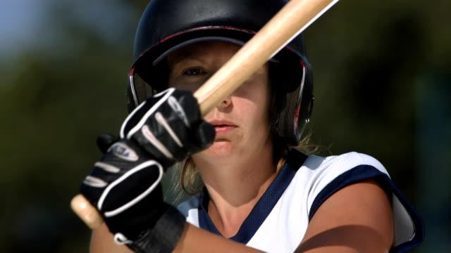 HD Super Slow-Mo: Female Softball Batter Hitting Ball
