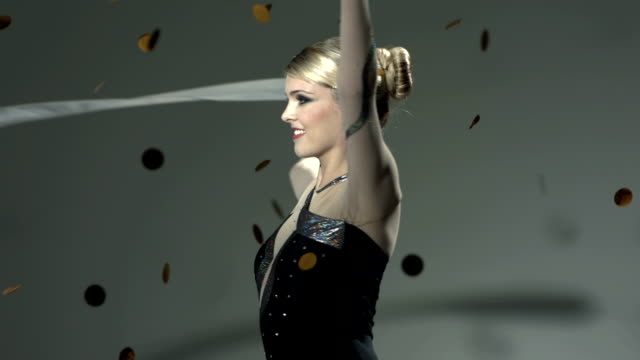 HD Super Slow-Mo: Gymnast Performing With A Ribbon