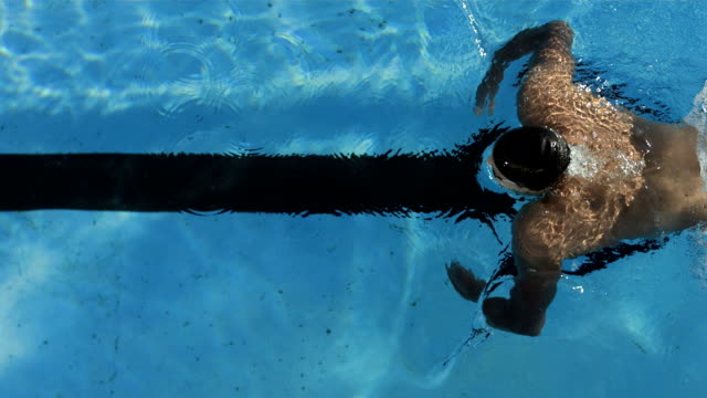 HD Super Slow-Mo: High Angle Shot Of Professional Swimmer