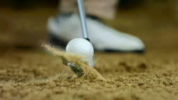 HD Super Slow-Mo: Hitting Ball From Sand Trap