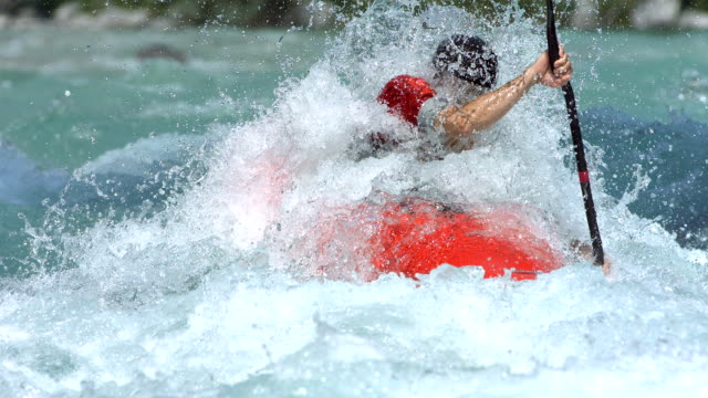 hd super slow-mo: kayaking through extreme rapids - rapid stock videos & royalty-free footage