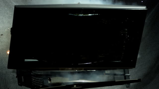 HD Super Slow-Mo: LCD Exploding Into Many Pieces