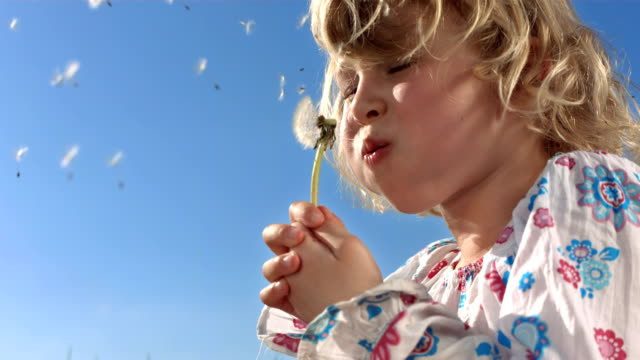 HD Super Slow-Mo: Little Girl Making A Wish