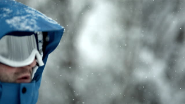 hd super slow-mo: man in the cold weather - ski goggles stock videos & royalty-free footage