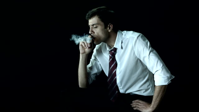 hd super slow-mo: manager smoking a cigare - cigarette stock videos & royalty-free footage