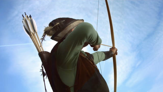 hd super slow-mo: medieval archer about to shoot - longbow stock videos and b-roll footage