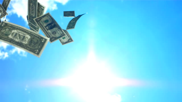 HD Super Slow-Mo: Money Falling From The Sky