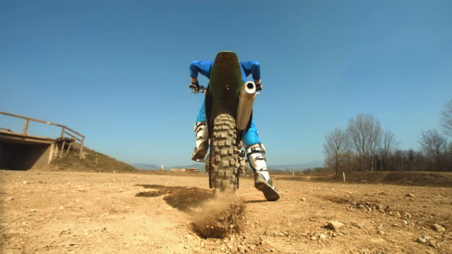HD Super Slow-Mo: Motocross Biker Kicking Sand