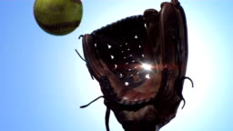 HD Super Slow-Mo: Player Catching A Softball With Glove