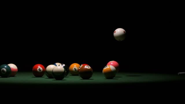 hd super slow-mo: pool break - pool table stock videos & royalty-free footage