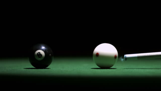 hd super slow-mo: pool cue shooting the ball - eight ball stock videos & royalty-free footage