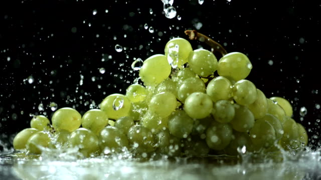 stockvideo's en b-roll-footage met hd super slow-mo: pouring water over grapes - sappig