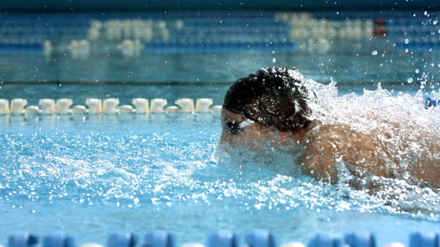 HD Super Slow-Mo: Professional Swimmer Swimming Butterfly Stroke
