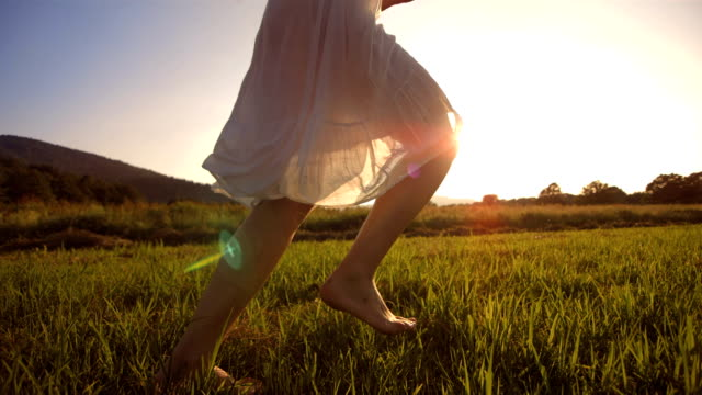hd super slow-mo: running barefoot in the grass - dress stock videos and b-roll footage