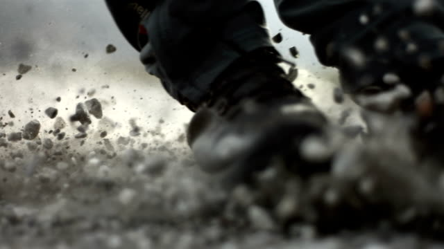 hd super slow-mo: sliding over fine gravel - super slow motion stock videos & royalty-free footage