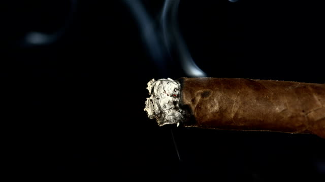 hd super slow-motion: un cigare fumatori - sigaro video stock e b–roll