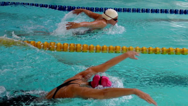 hd super slow-mo: two young women swimming butterfly stroke - butterfly stroke stock videos and b-roll footage