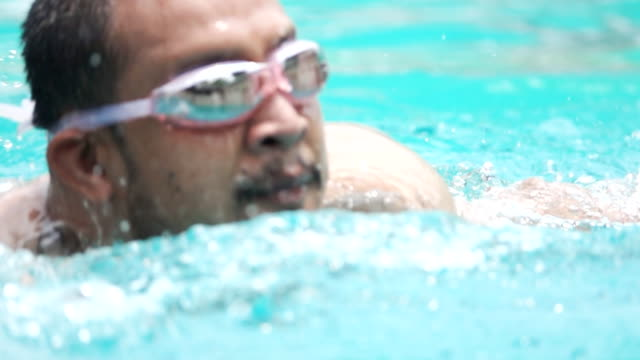 HD Super Slow-Mo: Young Man Swimming in the pool.