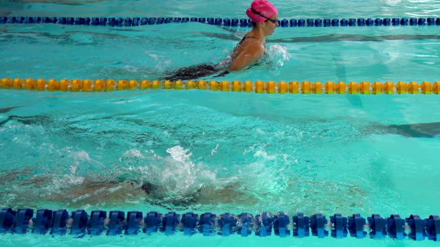 HD Super Slow-Mo:Two Young Woman Swimming Breaststroke