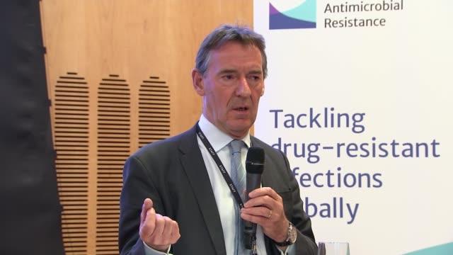 jim o'neill press conference; o'neill press conference sot - conclusion of press conference - on cutting use of antibiotics cutaways of o'neill press... - antibiotic stock videos & royalty-free footage