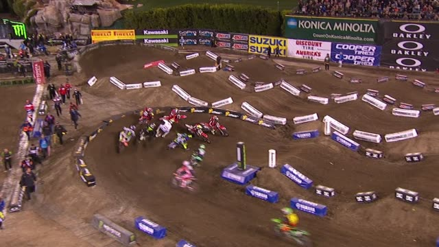 supercross racing at monster energy supercross celebrity night at angel stadium of anaheim on january 23, 2016 in anaheim, california. - angel stadium stock videos & royalty-free footage