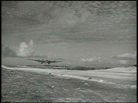 superfortress bomber aircrafts taking off from runway on military airbase world war ii wwii bombing mission airstrike mariana islands xxi bomber... - mariana islands stock videos and b-roll footage