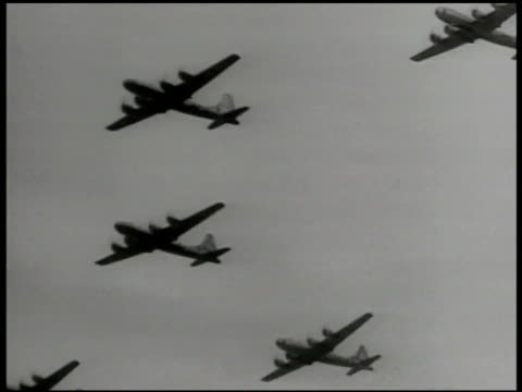 ws convair b36 'peacemaker' airplanes in flight la ws silhouettes of b36's passing korean war - korean war stock videos & royalty-free footage
