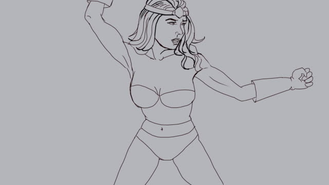 Supergirl drawing - Inking