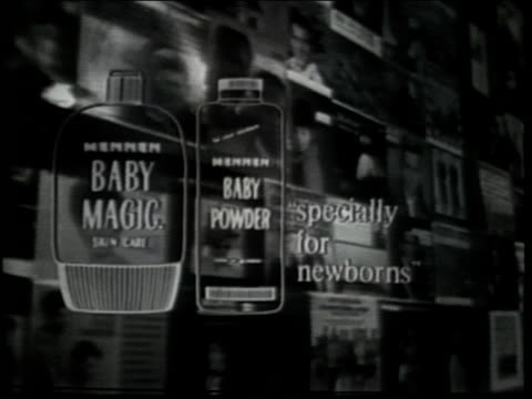 vídeos de stock, filmes e b-roll de superimposed graphics of mennen baby magic lotion ponds cold cream - espetáculos de variedade