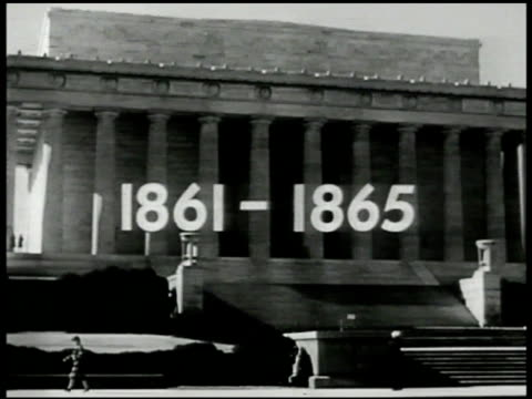'18611865' superimposed over ext of the lincoln memorial building ms president abraham lincoln in seated memorial cu lincoln's face statue washington... - 1865 stock videos & royalty-free footage