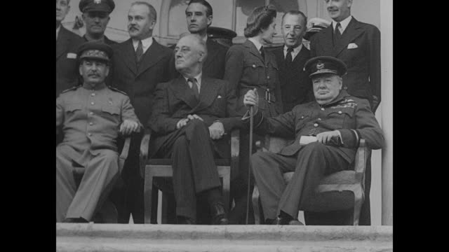 superimposed over tehran conference building communist dictator josef stalin us president franklin d roosevelt prime minister winston churchill... - 1943 stock-videos und b-roll-filmmaterial