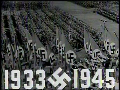 superimposed over vs nazi germany nuremberg stadium rally, soldiers marching w/ swastika flags, crowds nazi saluting, atles museum, crowds saluting.... - third reich stock videos & royalty-free footage
