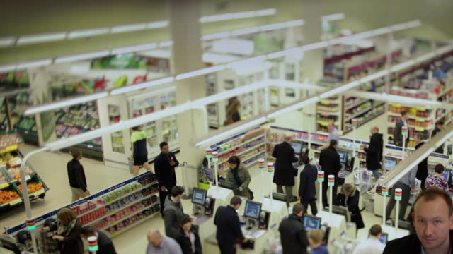 supermarket aisles and checkouts - general view stock videos & royalty-free footage