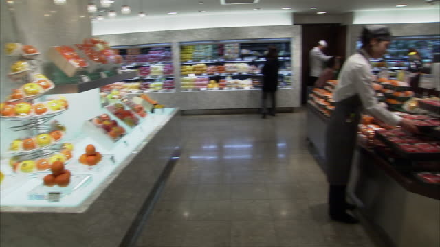 ws pan supermarket interior, tokyo, japan - display cabinet stock videos & royalty-free footage