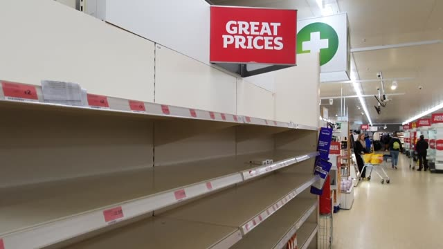 supermarket runs low on food stocks during the coronavirus pandemic in east dulwich on march 17, 2020 in london, england. - brian dayle coronavirus stock videos & royalty-free footage