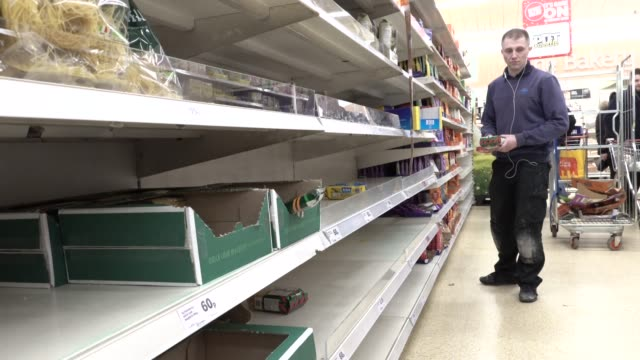 supermarket runs low on stocks of pasta during the coronavirus pandemic in london on march 6 2020 in london england - economics stock videos & royalty-free footage