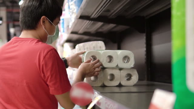 supermarket runs low on stocks of toilet paper. - barren stock videos & royalty-free footage