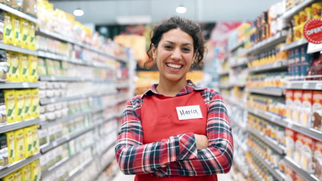 supermarket staff portrait - part time worker stock videos & royalty-free footage