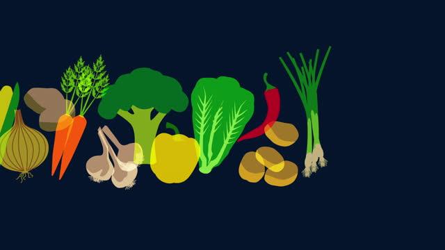 supermarket vegetables animation - kitchen stock videos & royalty-free footage