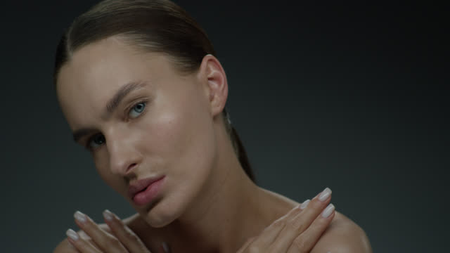 supermodel face closeup. fashion video. make-up - highlights hair stock videos & royalty-free footage
