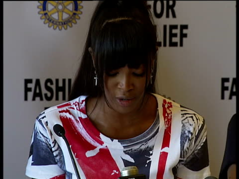 Supermodels promote Fashion for Relief campaign Naomi Campbell press conference SOT Explains about her interest in the UK flood disaster appeal /...