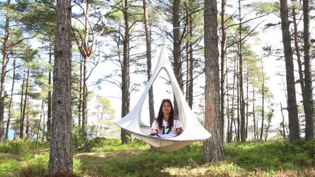 stockvideo's en b-roll-footage met supershe island a womenonly sanctuary for retreats owned by herself near raasepori finland on wednesday june 27 2018 - schommelen bungelen