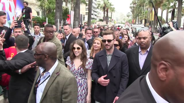 Superstar Justin Timberlake and costar Anna Kendrick just do Cannes for the promotion of Dreamworks Trolls a boat ride a press Jacket and a Croisette...