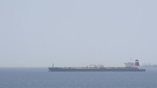 a supertanker suspected of carrying crude oil to syria in violation of eu sanctions is detained in gibraltar - ship stock videos & royalty-free footage
