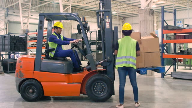 supervisor examining cardboard boxes on forklift - forklift stock videos & royalty-free footage