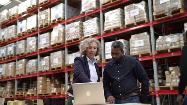 supervisors discussing over laptop in warehouse - deposito video stock e b–roll