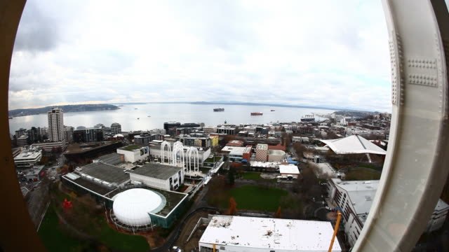 superwide view from inside the elevator going up on the space needle. - elevator point of view stock videos and b-roll footage