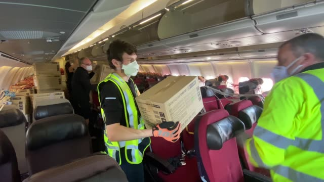 ppe supplies arrive at bournemouth international airport from kuala lumpur malaysia on may 06 2020 in bournemouth england the airbus 340 bearing the... - malaysia stock videos & royalty-free footage